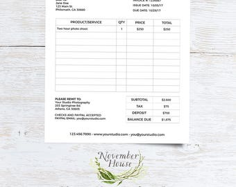 Client Invoice Template for Photographers Photography Invoice