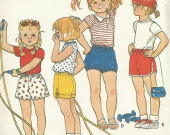 Vintage 80s Butterick 4366 UNCUTToddler One Yard CuffedShorts, Basketball Shorts and Bloomers Sewing Pattern Size 2