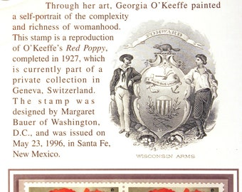 Georgia O'Keeffe Commemorative Panel /USPS /Philately /Postage stamps/ Collectible /Stamp collecting/ Red Poppy/ Cow Skull with Calico Roses