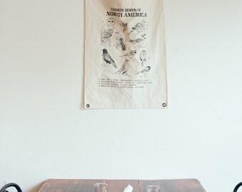 Canvas Banner - Birds - Wall Hanging - Canvas Flag - Poster - Wall Art - Decor - Organic Cotton - Pennant - Screenprint - Vintage - Boho
