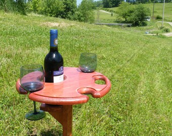 Outdoor Wine Table - Holds a bottle and four glasses