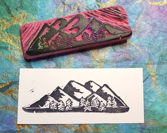 HANDCARVED STAMPS - Mountain Range and Trees
