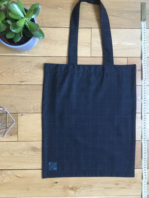 Lightweight suiting wool charcoal grey with mustard check Tote Bag with zip compartment