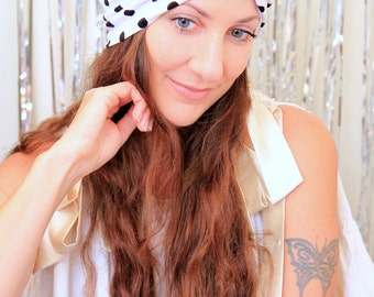 Black and White Polka Dot Turban - Women's Fashion Hair Warp in Retro Dots Print