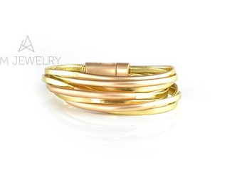 Wrap Bracelet, Beige Bracelet, Beige Jewelry, Bracelet with magnetic clasp, P0852