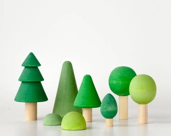 Wooden Trees set | Trees set | Forest set | Wooden Trees | Trees and bushes | Pretend play | Fairy tale | Fir tree | Puppet play |
