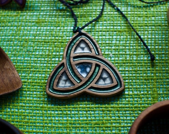 Celtic trinity knot (triquetra) wooden necklace