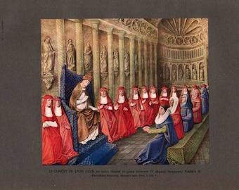 Le concile de Lyon (1245) / The Council of Lyon (1245)  / Vintage book plate