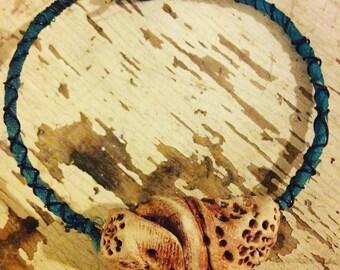 Rustic Polymer Clay Shell Wire Bangle Hippie Bracelet, Gift for Her, Rustic Jewelry, Hippie Bracelet, Gypsy Bracelet