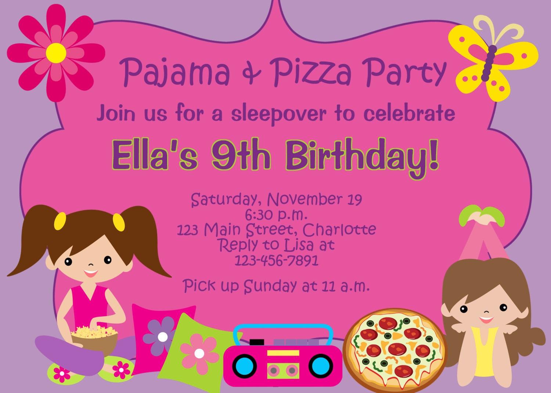 Pizza and Pajama party birthday party invitation slumber
