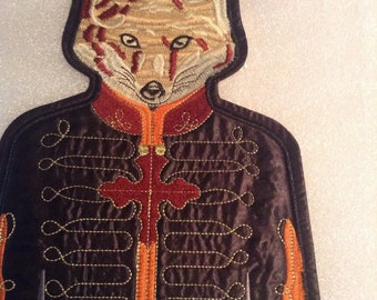 Foxy fox embroidered quilted applique patch iron sew on steampunk