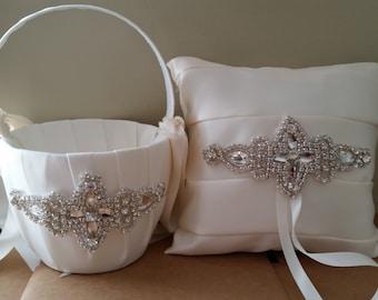 SALE - Wedding Flower Basket & Ring Bearer Pillow Set  - Style BKRP1012