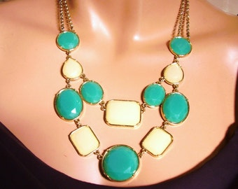 Vintage Gold Tone Double Chain Turquoise Yellow Necklace