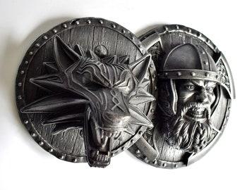 Viking Warrior Fenrir Norse Wolf Shield Axes Iron Wall Mount Sculpture Relief Odin Ragnarok Set of 2