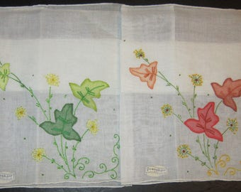 NWT set of 2 franshaw hankies appliqued and embroidered gorgeous colors