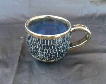 Midnight Black Textured Coffee Mug