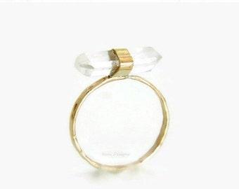 Crystal Quartz Solid Gold Ring, Healing Yoga Quartz Ring, 14K Solid Yellow Gold Ring