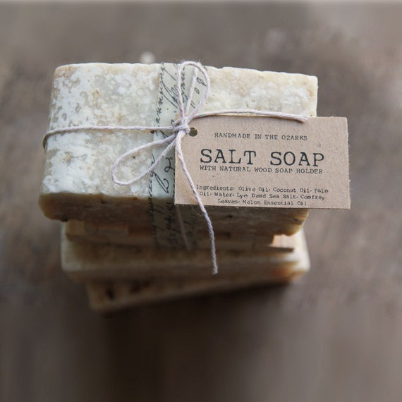 SALT SOAP bar Made In The OZARKS | Rustic Wedding gift, party favors, client gift, Housewarming gift, Father's Day, Exfoliating Scrub
