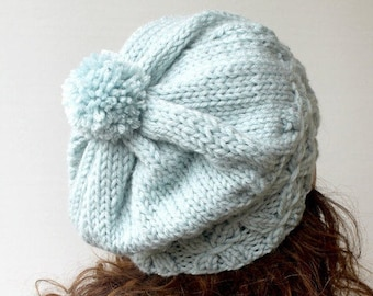 Beauty Gift. Baby Blue Beanie Women's Knit Hat Winter Hat Slouchy Beanie Pompom Hat - Blue Beret / Chunky / Beret /Baggy / Beanie