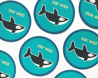 "Orca whale vinyl sticker, Stay Wild, 2"" Whale sticker, laptop stickers, whale art, cute sticker, phone sticker, PNW sticker, animal sticker"