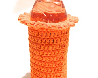 Hot Orange Crocheted 16.9 Ounce Water Bottle Cover With Ruffle