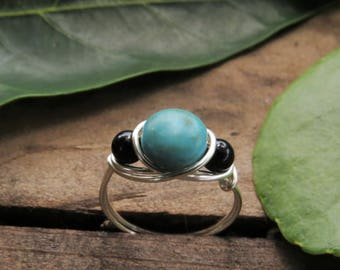 Turquoise Ring - Wire Wrapped