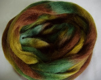 Wool roving, space dyed roving, finger thick strand, spinning fiber, needle felting wool, wool for dreads,green,brown,3.5oz, 100g, 100% wool
