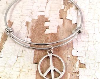Peace charm bracelet, charm bracelet, silver charm bracelet, Adjustable bangle bracelet, peace bracelet, stainless steel bracelet, for her