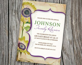 Family Reunion Invitation ~ Sunflower Backyard Party Invite, End of Summer Theme Mountain Weekend Invites, Printable Ranch Party Gathering