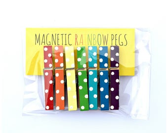 Magnetic Rainbow Pegs. Polka Dot. Fridge Magnets. Kids Pictures. Kitchen. Decor. Home. Back to School. Artwork. Lists. Reminders.