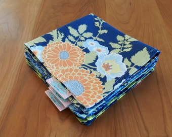 Blue and Olive Green Cocktail Napkins with Flowers and Lily Pads, Lunchbox Napkins, Mix and Match, Bold Bouquet, Botanique, Little Azalea