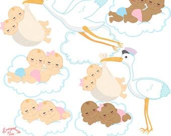 Twins Boy and Girl Delivery Clipart Set