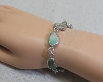 Vintage Handmade Sterling and Pottery Link Bracelet, 7.75 Inch Bracelet