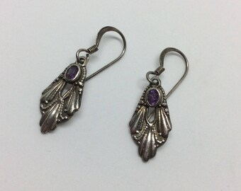 Dainty Sterling Silver and Amethyst Hook Earrings