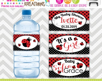 WBW-683: DIY - Pretty Little Lady Bug 3 Water Bottle Wrappers