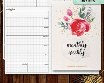 A5 inserts | WEEKLY planner printable, week on one page (a5 planner inserts, a5 travelers notebook, a5 TN inserts, filofax a5)