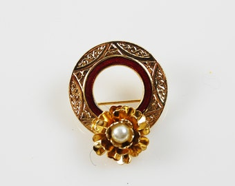 Vintage Gold Tone and Burgundy Circle Brooch with Faux Pearl