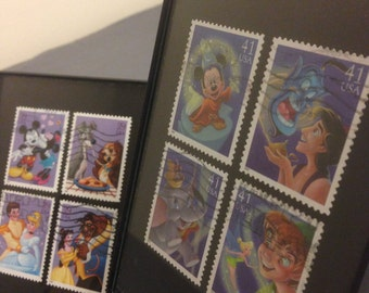 """Disney - Two Recycled Postage Stamp Framed Art 3.5""""x5"""", Mickey Mouse, Lady and the Tramp, Beauty and the Beast, Peter Pan, Cinderella, dumbo"""