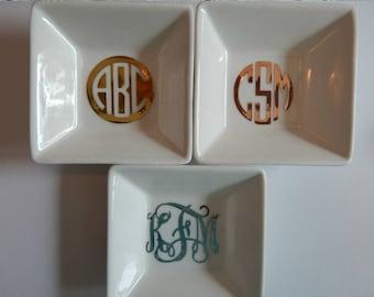 Monogram Ring Dish, Jewelry Dish, Ring Dish, Monogrammed Jewelry Dish, Bridesmaids Gifts, Monogram Dish, Monogram Tray, Personalized, Gifts
