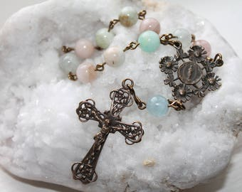 Our Lady of Lourdes Catholic Pocket Rosary Chaplet-Solid Bronze and Morganite Catholic Rosary-Handmade Catholic-Ships Free