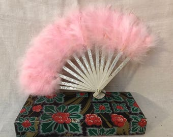 Child's Pink Ostrich Feather Fan