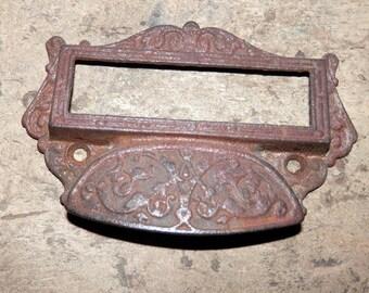 pair of lg antique apothecary cast iron bin pulls original vintage