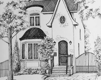 Pen and Ink House Portrait One of a Kind Custom 10x12