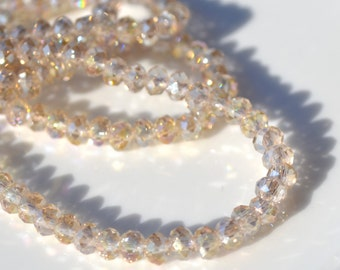 Champagne Sparkly 4x3mm Crystal Rondelle Beads   25