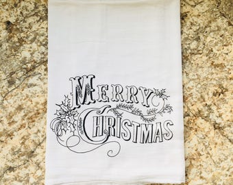 A Vintage Merry Christmas Dish Towel Flour Sack Tea Towel