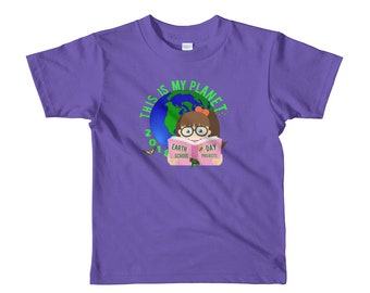 Young Girl's Earth Day School T-Shirt Short Sleeve 2-6 year olds