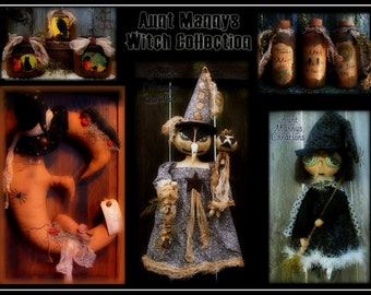 Primitive Halloween Witch Pattern Collection #1 Lot of 5 Patterns! Buy More Pay Less!