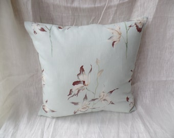 """Clearance Modern, retro contemporary duck egg green flowered 16"""" x 16"""" cushion cover, scatter cushion, pillow case"""