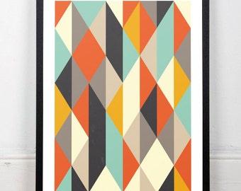 Scandinavian art print, Mid century modern, Geometric print, Minimalist art, Abstract art print, Wall art, Wall print, Modern art print