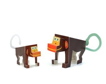 Maxi Monkey Paper Toys - DIY Paper Craft Kit - 3D Paper Animals - Kids Monkey - 3D Model Paper Figure